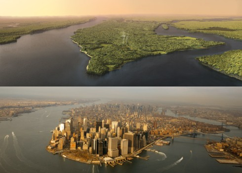 "old + new worlds. ""Manhattan 1609 vs. 2009: Natural Wonder to Urban Jungle,"" by Markley Boyer"